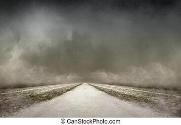 denso, seca, nevoeiro, reino