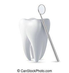 dent, arrière-plan., conception, closeup, dents, miroir, monde médical, gabarit, dentiste, inspection, vecteur, dentaire, icône, tool., clipart., isolé, 3d, santé, blanc, concept, réaliste