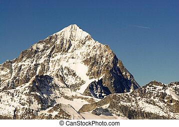 Dent Blanche (4357m) mountain peak. View from Gornergrat, Zermatt, Switzerland.