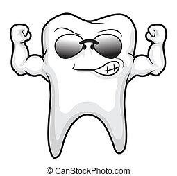 dent, dessin animé, fort