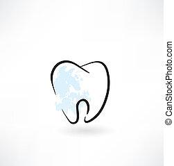 dent, grunge, icône