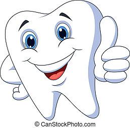 dent, haut, pouce, mignon, dessin animé