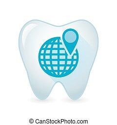 dent, icône, à, a, globe mondial
