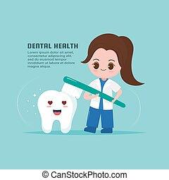 dent, mignon, concept., santé, dentiste
