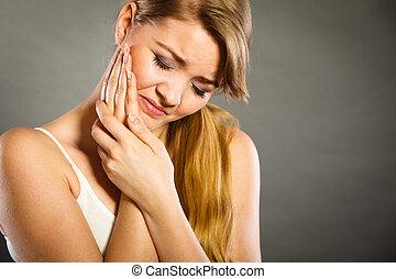 dent, souffrance, femme, douleur