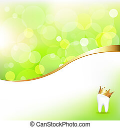 dentaal, achtergrond, met, tand, in, gouden kroon