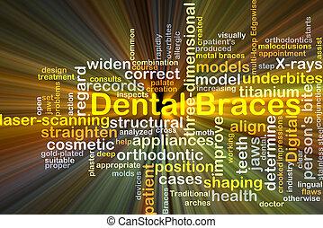 dentaal, concept, bretels, achtergrond, gloeiend