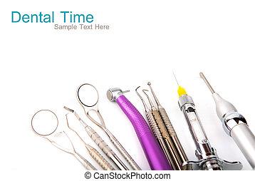 dentaal, equipment., achtergrond, witte , gereedschap, op
