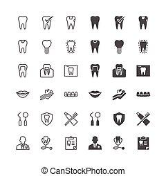 dentaal, iconen, included, normaal, en, in staat stellen, state.