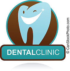dentaal, kliniek, vector, pictogram, -, glimlachen, tand