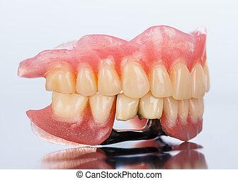 dentaal, prothese, -, zijaanzicht