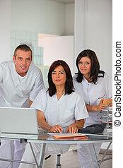 dentaal, team, op, een, draagbare computer