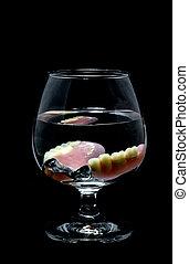dentadura, água, parcial, vidro