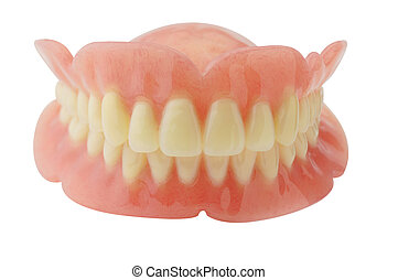 dentadura, con, ruta de recorte, blanco, plano de fondo