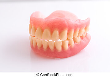 dentadura llena, blanco, plano de fondo