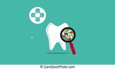 dentaire, animation, santé, icônes médicales