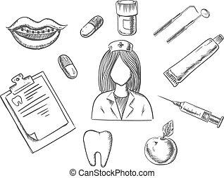 dentaire, articles, croquis, icônes médicales