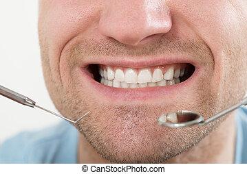 dentaire, avoir, Chèque, homme, haut