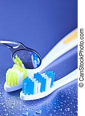 dentaire, brosses dents, miroir