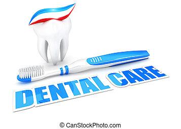 dentaire, concept, 3d, soin