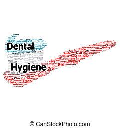 dentaire, concept, mot, hygiène, nuage