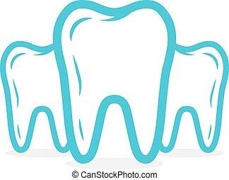 dentaire, dent, vecteur, logo., ou, icône
