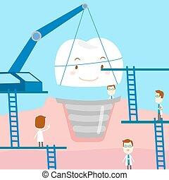 dentaire, dessin animé, soin