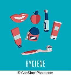 dentaire, monde médical, 3d, hygiène, icônes