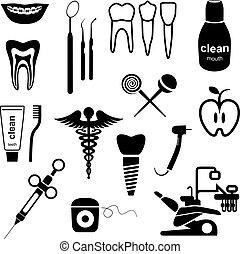 dentaire, noir, icônes