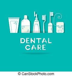 dentaire, symbols., fond, soin