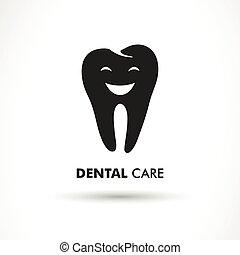 dentaire, vecteur, soin, étiquette