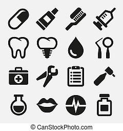 dental, ícones, jogo