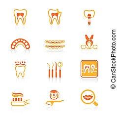 dental, ícones, ||, suculento, série