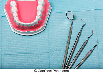 dental and endodontic instruments on the napkin. Top view. -...
