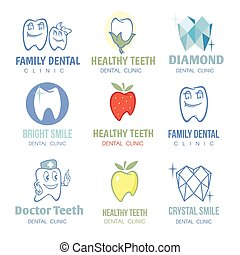 Dental and stomatology logos vector set