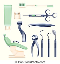 Dental appliances - set of realistic vector isolated objects