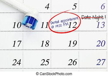 dental appointment, på, kalender