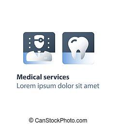 dental, arriba, médico, dentista, diente, servicios,...