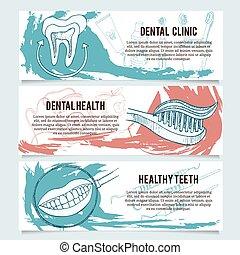 Dental banners or website header set.