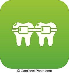 Dental brace icon green vector