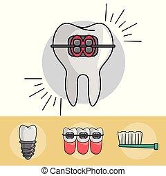 Dental braces elements collection vector illustration graphic design