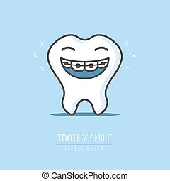 Tooth mascot character smiling and showing it's teeth with dental braces vector illustration