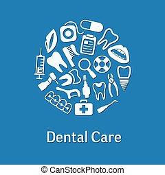 dental, círculo, iconos
