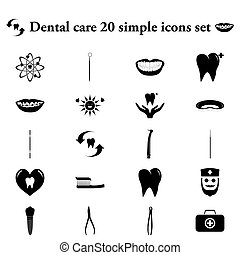 Dental care 20 simple icon on colorful background