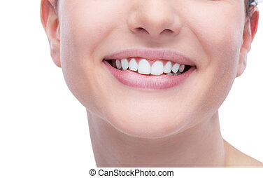 Dental care - Beautiful young woman smiling an showing...