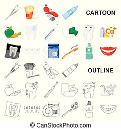 Dental care cartoon icons in set collection for design. Care...