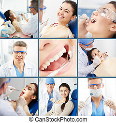 Dental care - Collage of young girl at the dentist?s