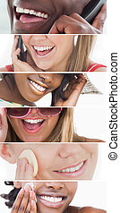 Dental care collage of people smiling on white background