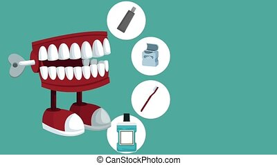 Dental care concept HD animation - Chattering and dental...