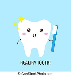 Dental care cute happy tooth character vector design